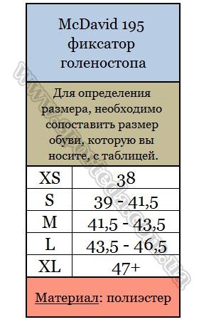 Размеры фиксатора голеностопа Макдевид 195