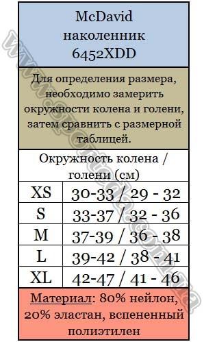 Размеры наколенник Макдевид