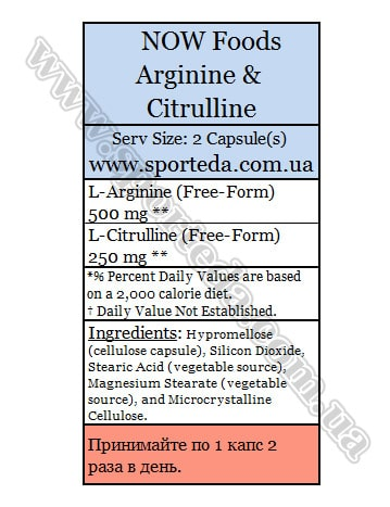 Состав Now Arginine and Citrulline