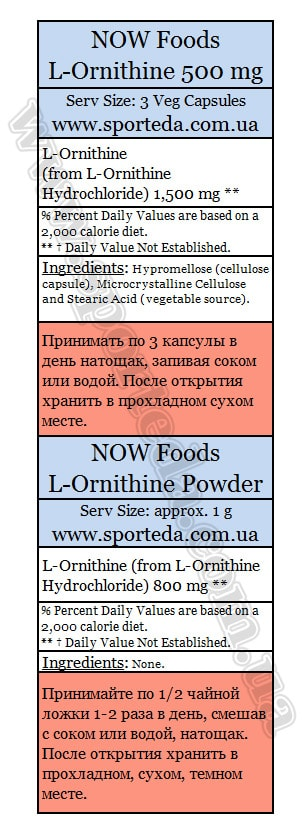 Состав Now Foods L-Ornithine
