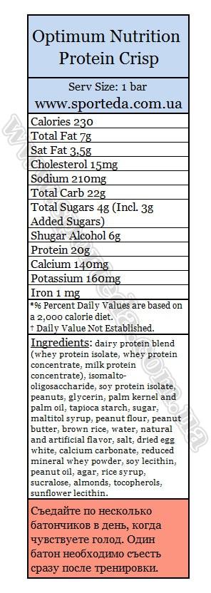 Состав Optimum Nutrition Protein Crisp Bar