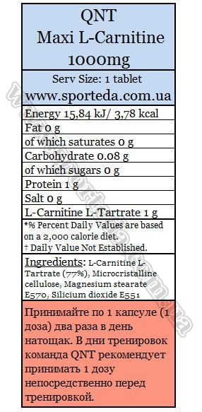 Состав QNT Maxi L-Carnitine 1000 mg
