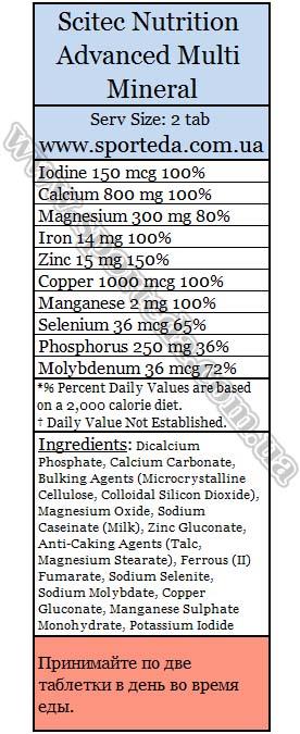 Состав Scitec Nutrition Advanced Multi Mineral