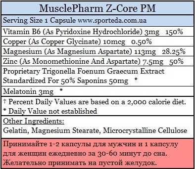 Цинк и магний MusclePharm